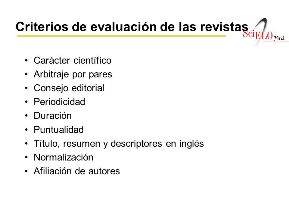Criterios de evaluación de las revistas
