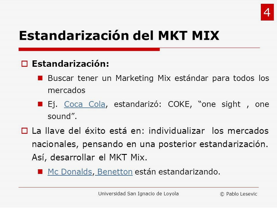 Estandarización del MKT MIX