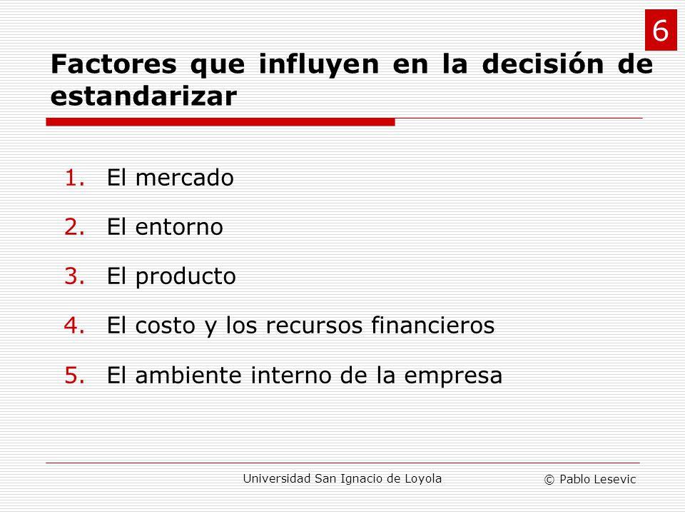 Factores que influyen en la decisión de estandarizar