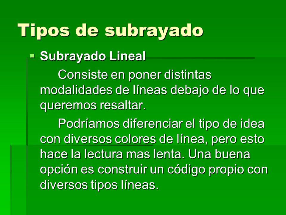Tipos de subrayado Subrayado Lineal