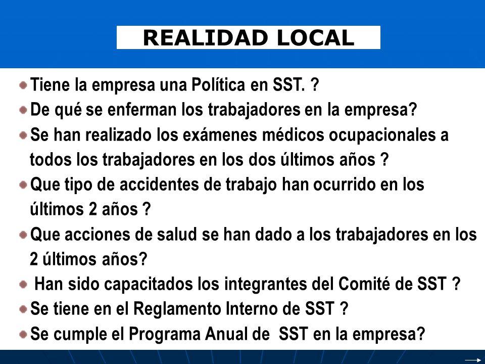 REALIDAD LOCAL Tiene la empresa una Política en SST.