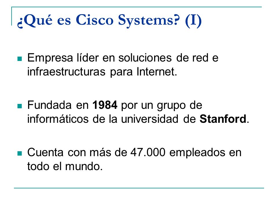 ¿Qué es Cisco Systems (I)