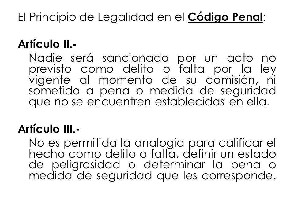 El Principio de Legalidad en el Código Penal: Artículo II