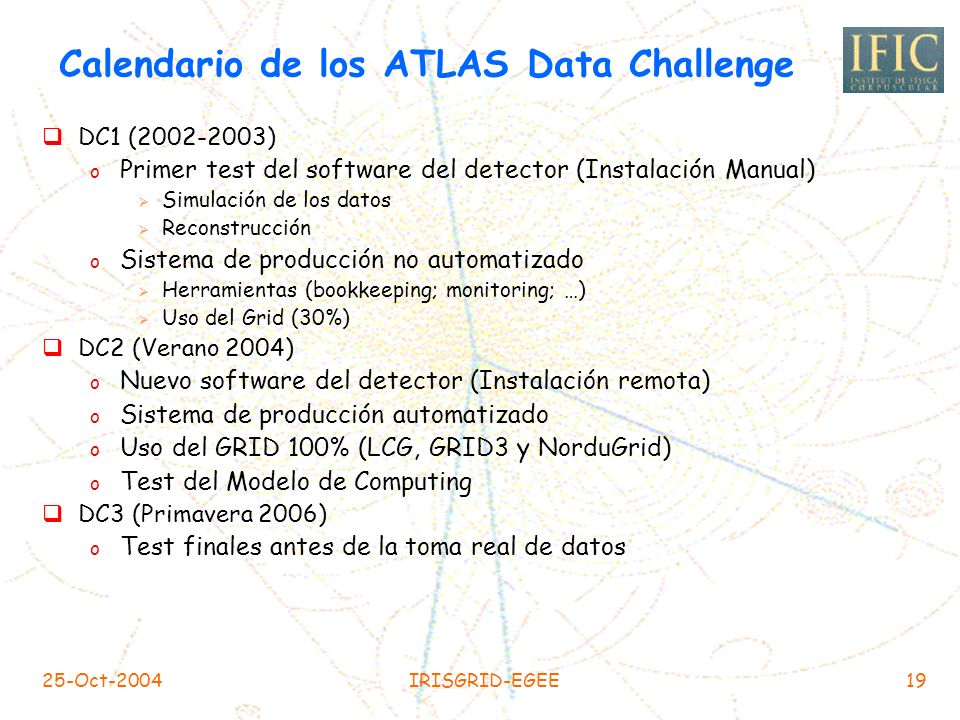 Calendario de los ATLAS Data Challenge