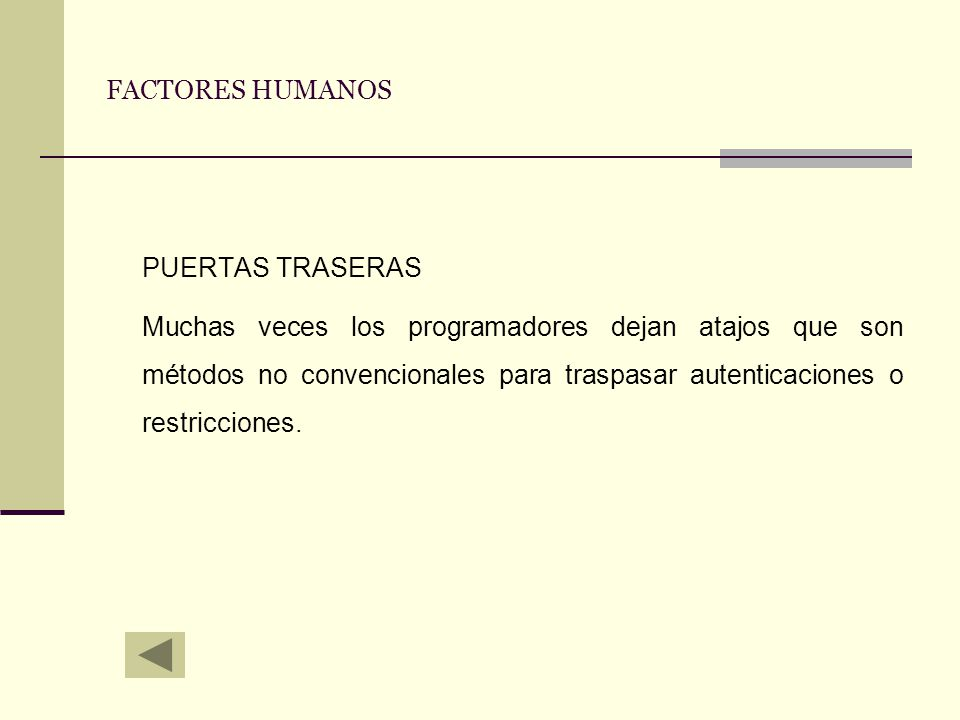 PUERTAS TRASERAS FACTORES HUMANOS