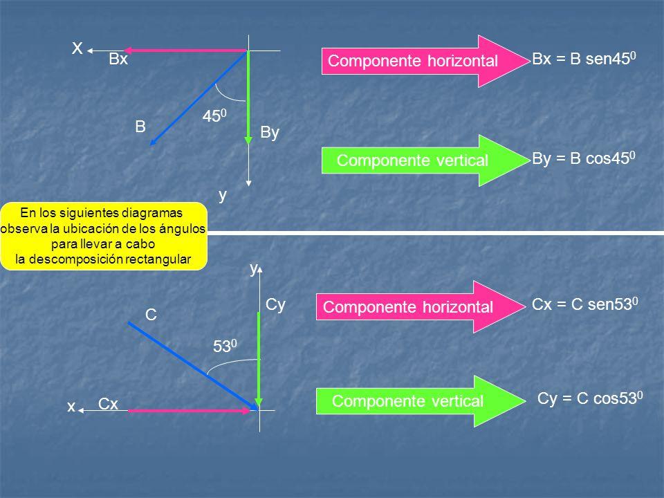 Componente horizontal Bx Bx = B sen450