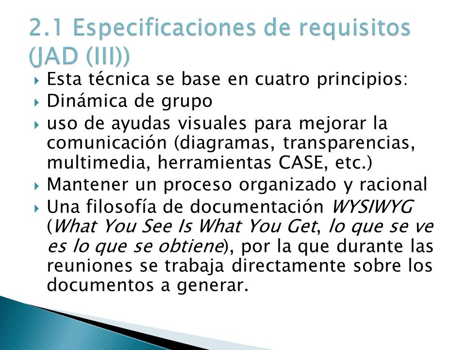 2.1 Especificaciones de requisitos (JAD (III))