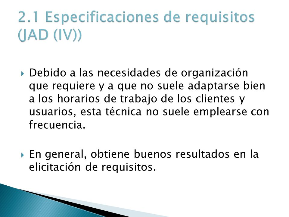 2.1 Especificaciones de requisitos (JAD (IV))