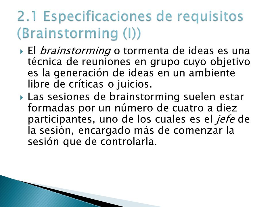 2.1 Especificaciones de requisitos (Brainstorming (I))