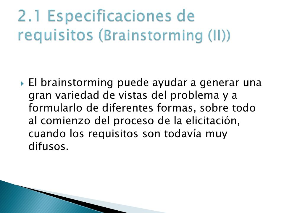 2.1 Especificaciones de requisitos (Brainstorming (II))