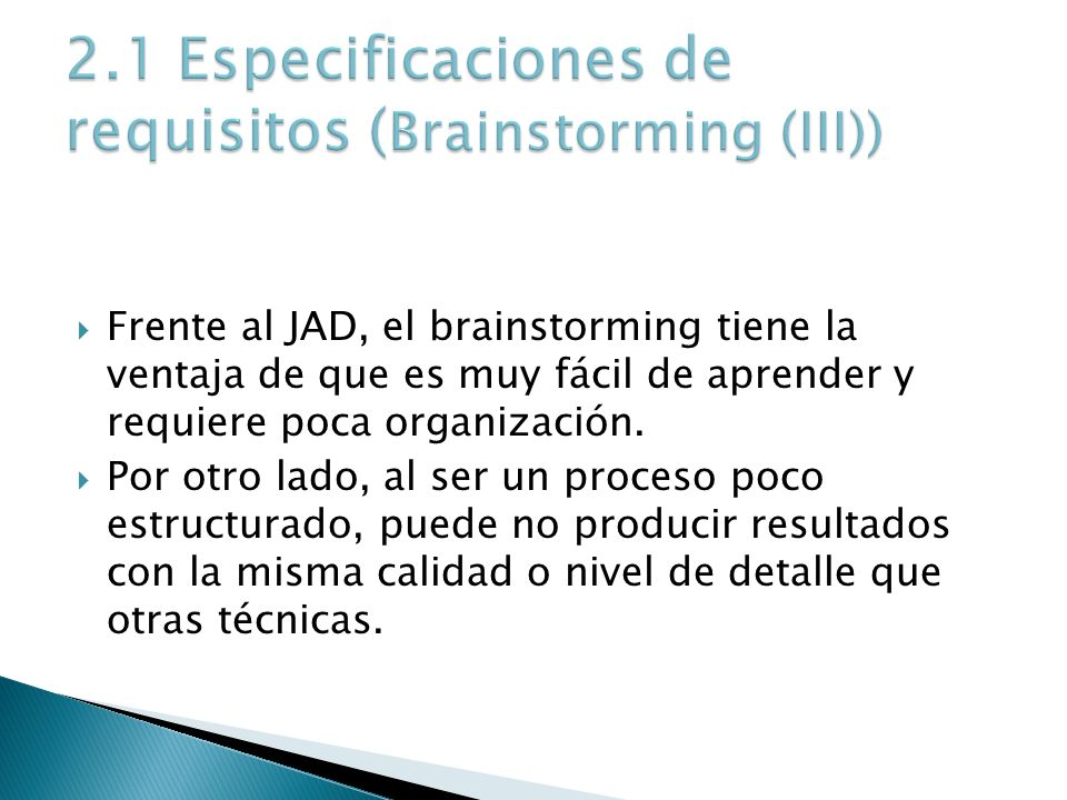 2.1 Especificaciones de requisitos (Brainstorming (III))