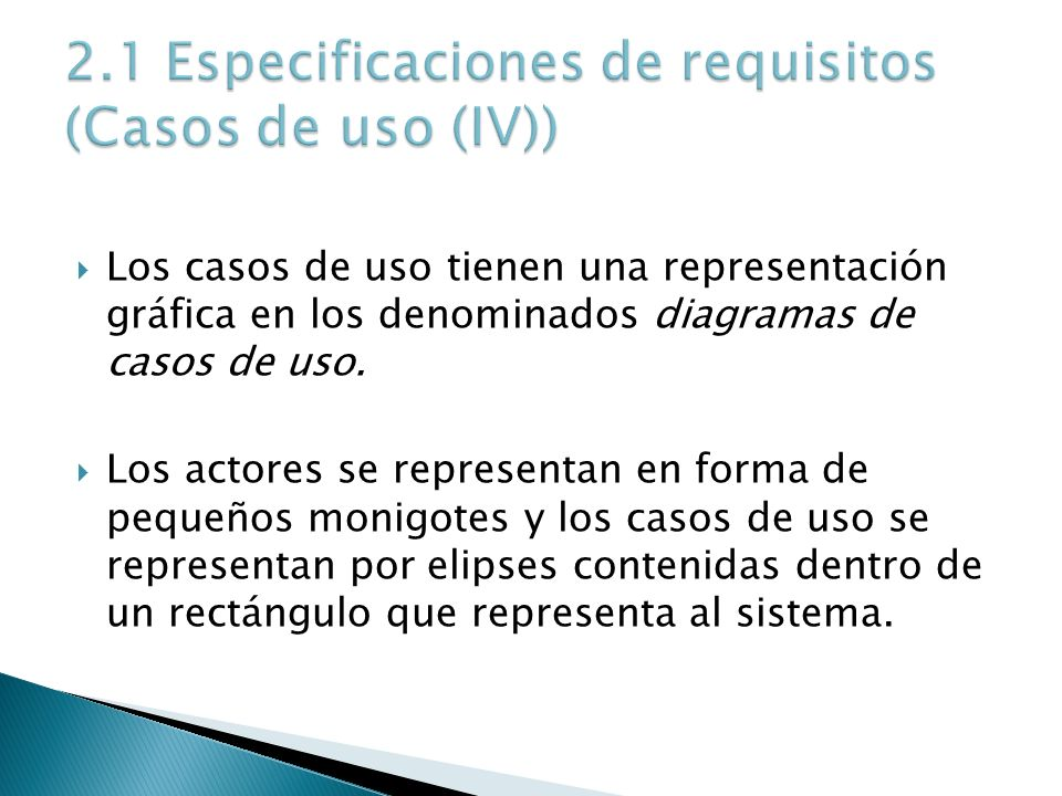 2.1 Especificaciones de requisitos (Casos de uso (IV))