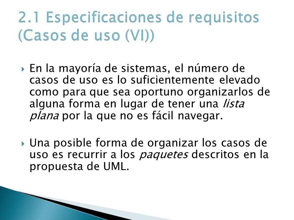 2.1 Especificaciones de requisitos (Casos de uso (VI))