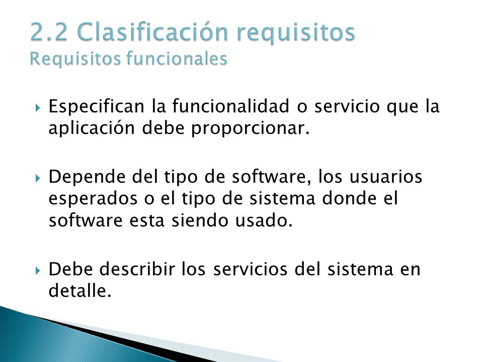 2.2 Clasificación requisitos Requisitos funcionales