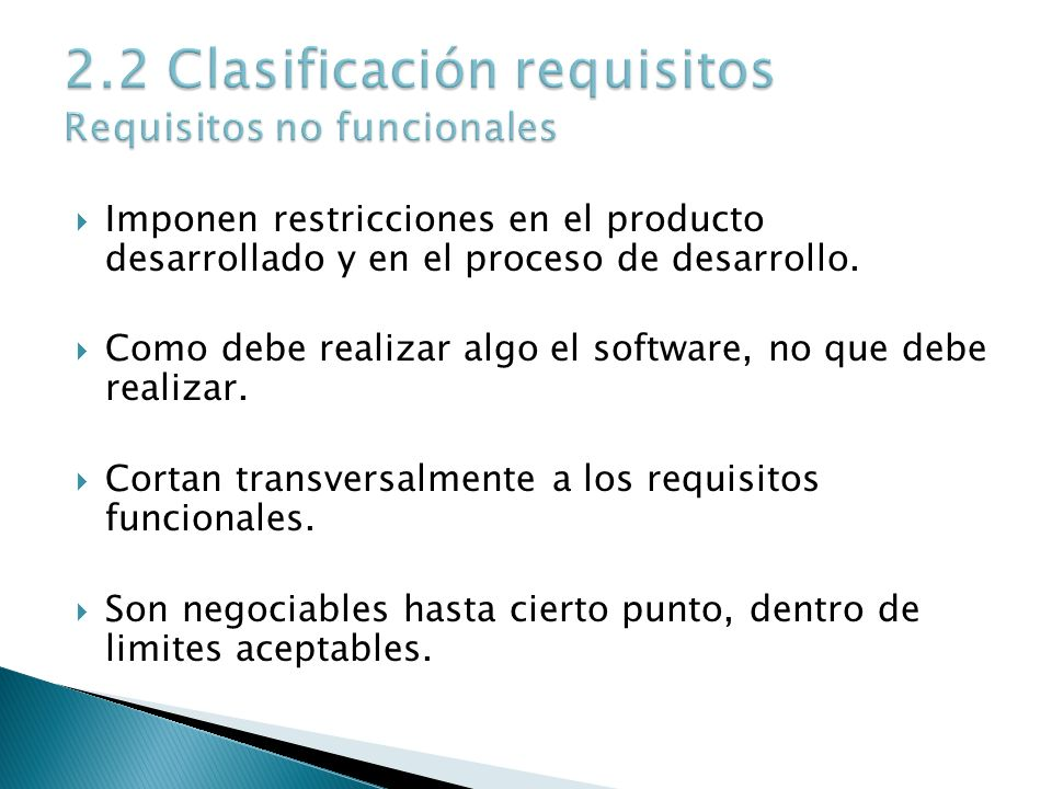 2.2 Clasificación requisitos Requisitos no funcionales