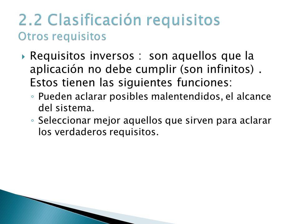 2.2 Clasificación requisitos Otros requisitos