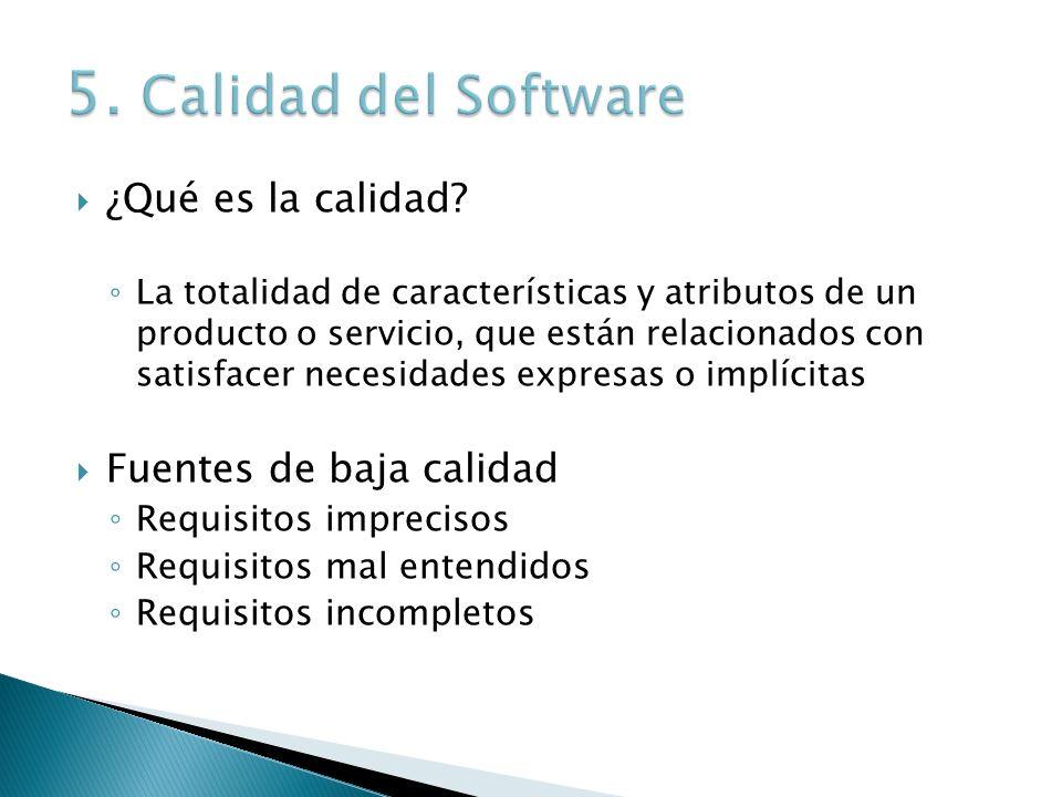 5. Calidad del Software ¿Qué es la calidad Fuentes de baja calidad
