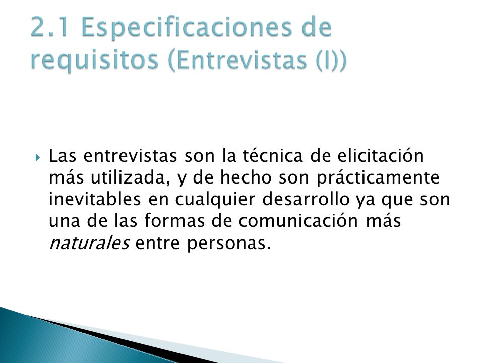 2.1 Especificaciones de requisitos (Entrevistas (I))