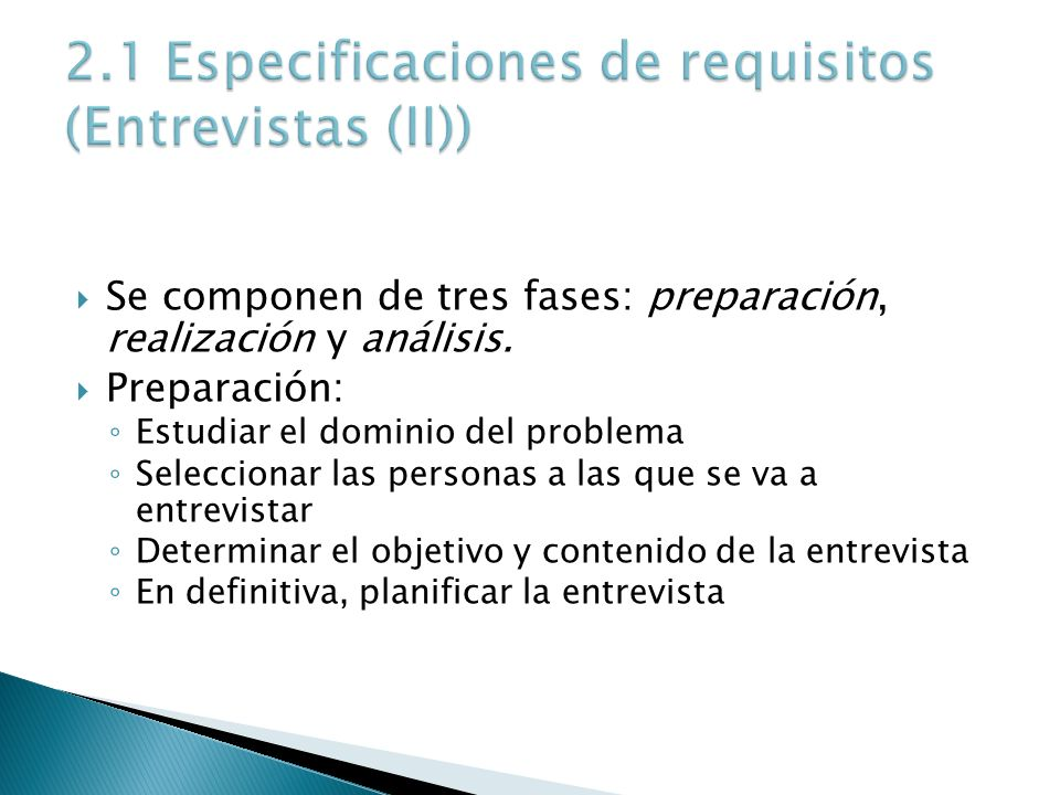 2.1 Especificaciones de requisitos (Entrevistas (II))