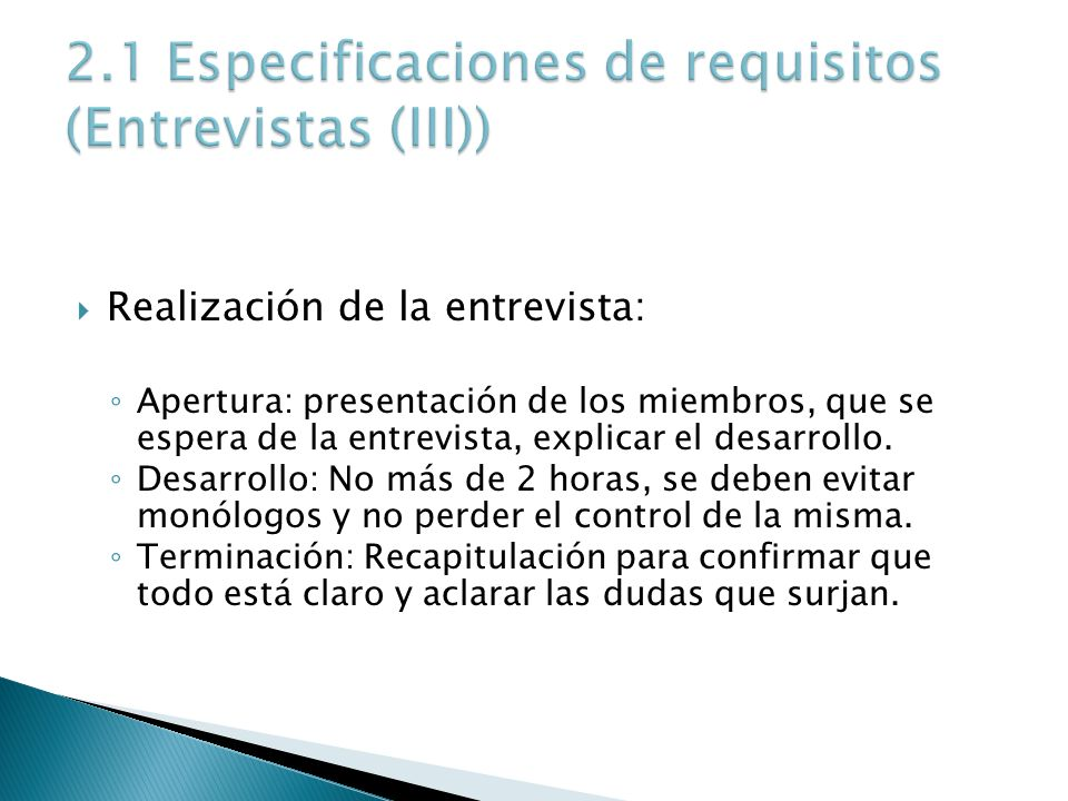2.1 Especificaciones de requisitos (Entrevistas (III))