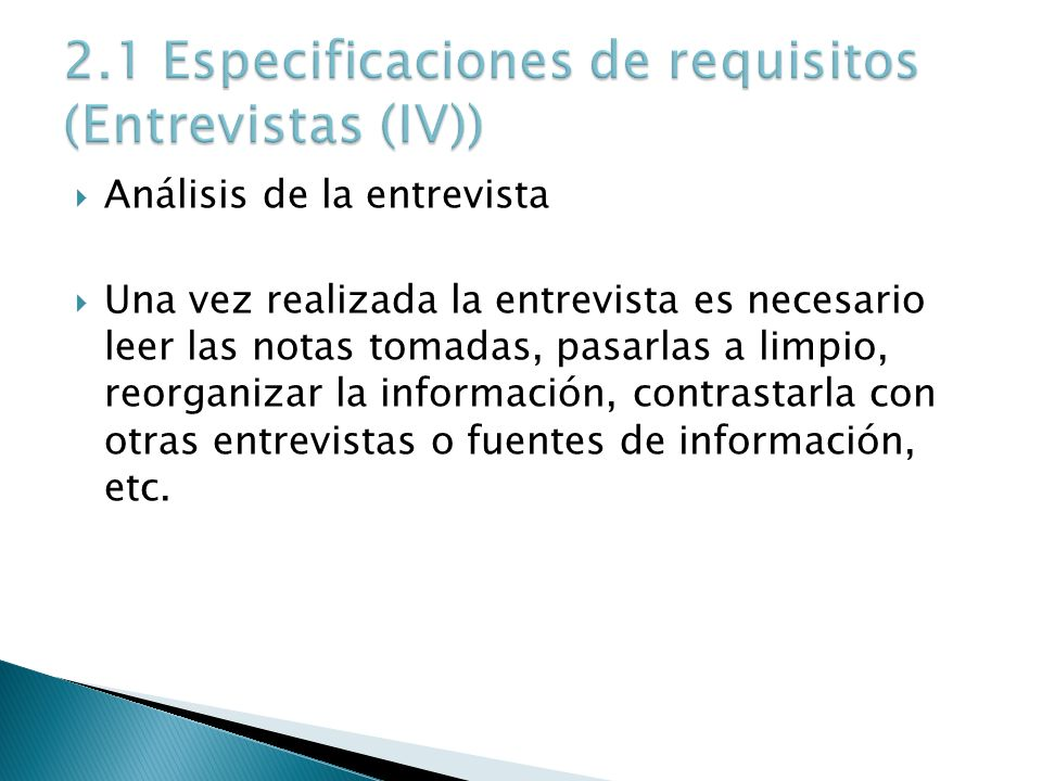 2.1 Especificaciones de requisitos (Entrevistas (IV))