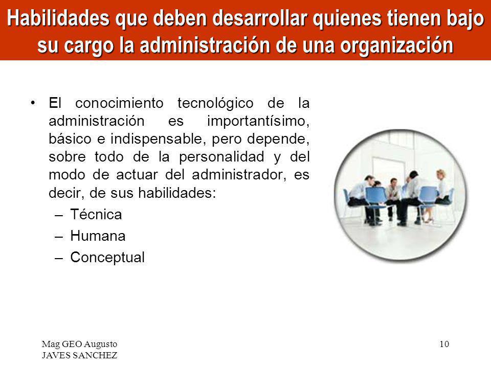 Habilidades que deben desarrollar quienes tienen bajo su cargo la administración de una organización