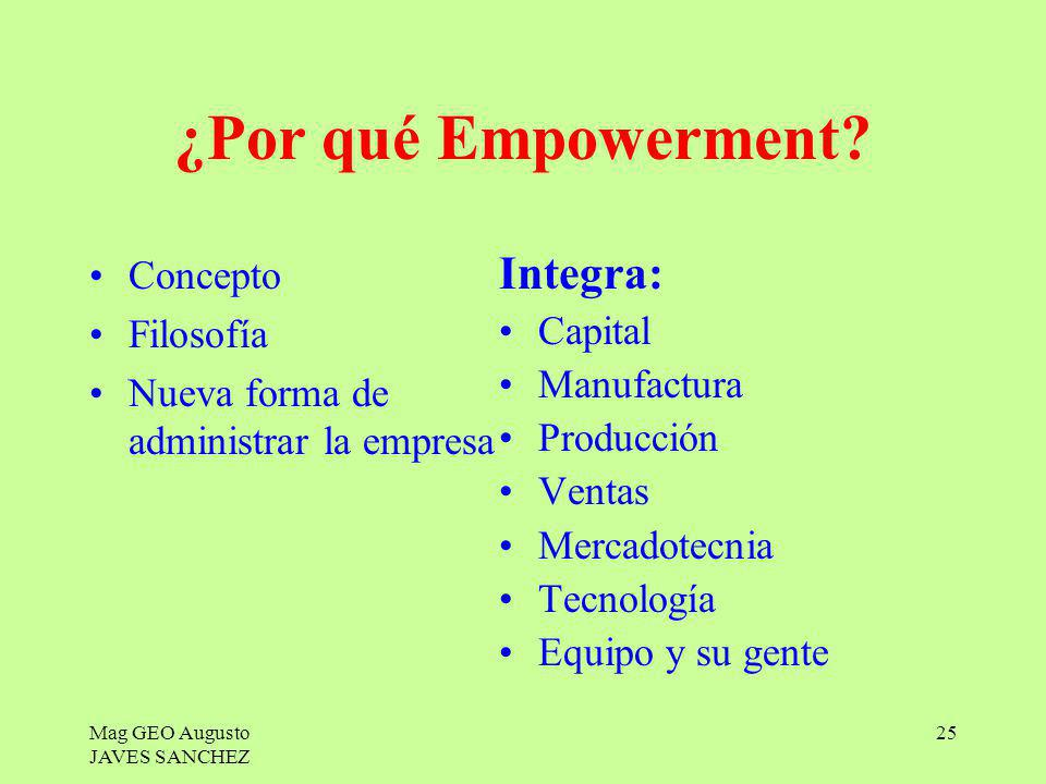 ¿Por qué Empowerment Integra: Concepto Filosofía Capital