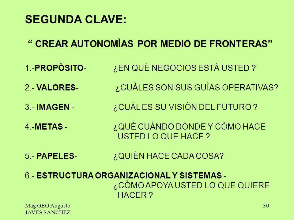 SEGUNDA CLAVE: CREAR AUTONOMÌAS POR MEDIO DE FRONTERAS