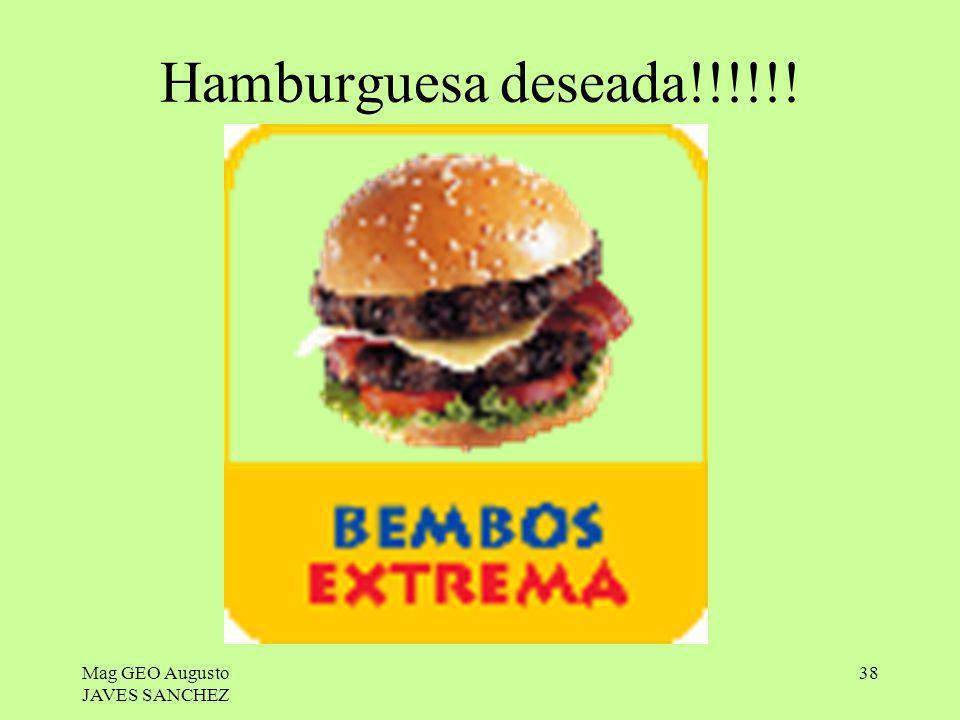 Hamburguesa deseada!!!!!! Mag GEO Augusto JAVES SANCHEZ