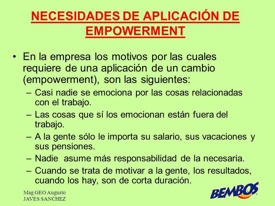 NECESIDADES DE APLICACIÓN DE EMPOWERMENT