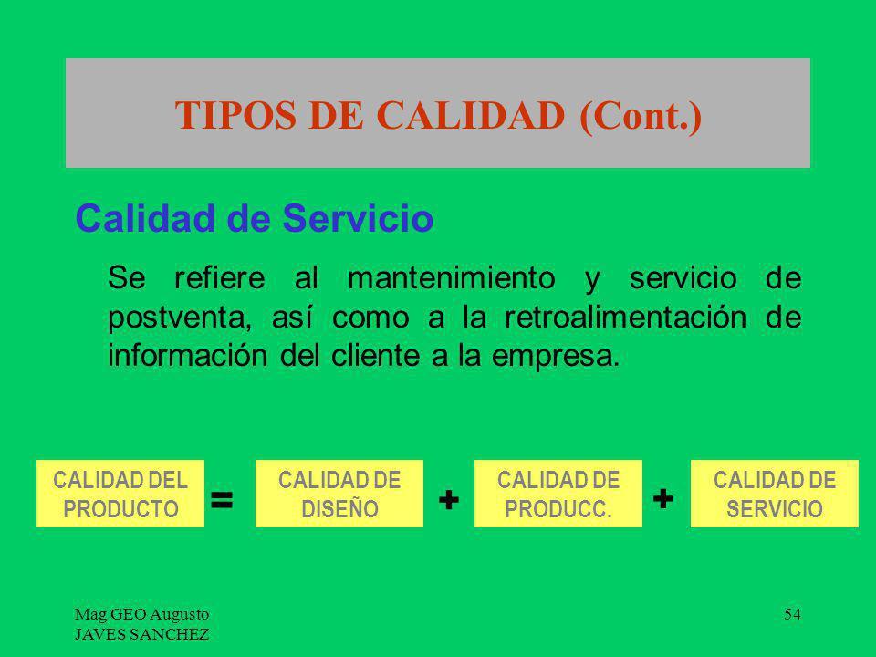 TIPOS DE CALIDAD (Cont.)