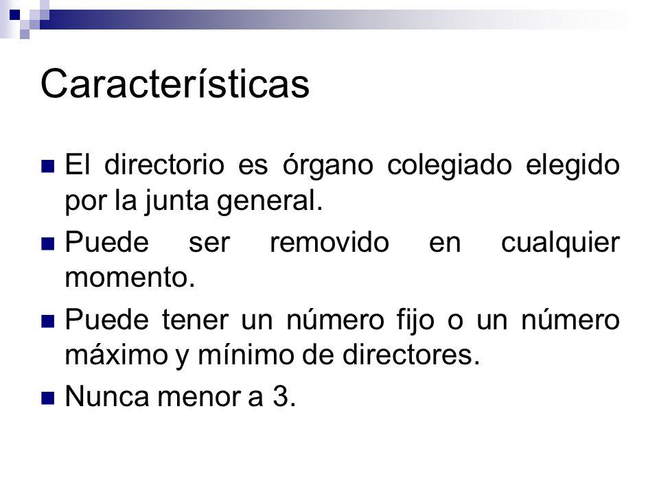 Características El directorio es órgano colegiado elegido por la junta general. Puede ser removido en cualquier momento.