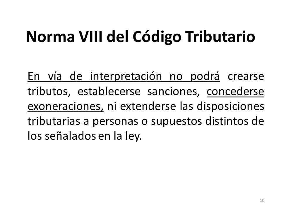 Norma VIII del Código Tributario