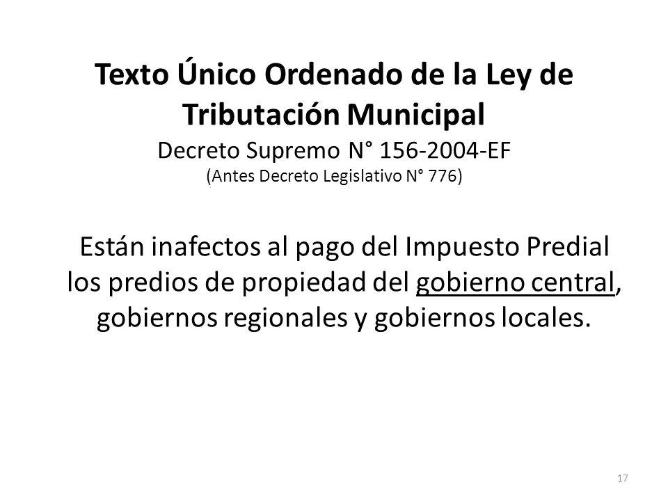 Texto Único Ordenado de la Ley de Tributación Municipal Decreto Supremo N° 156-2004-EF (Antes Decreto Legislativo N° 776)