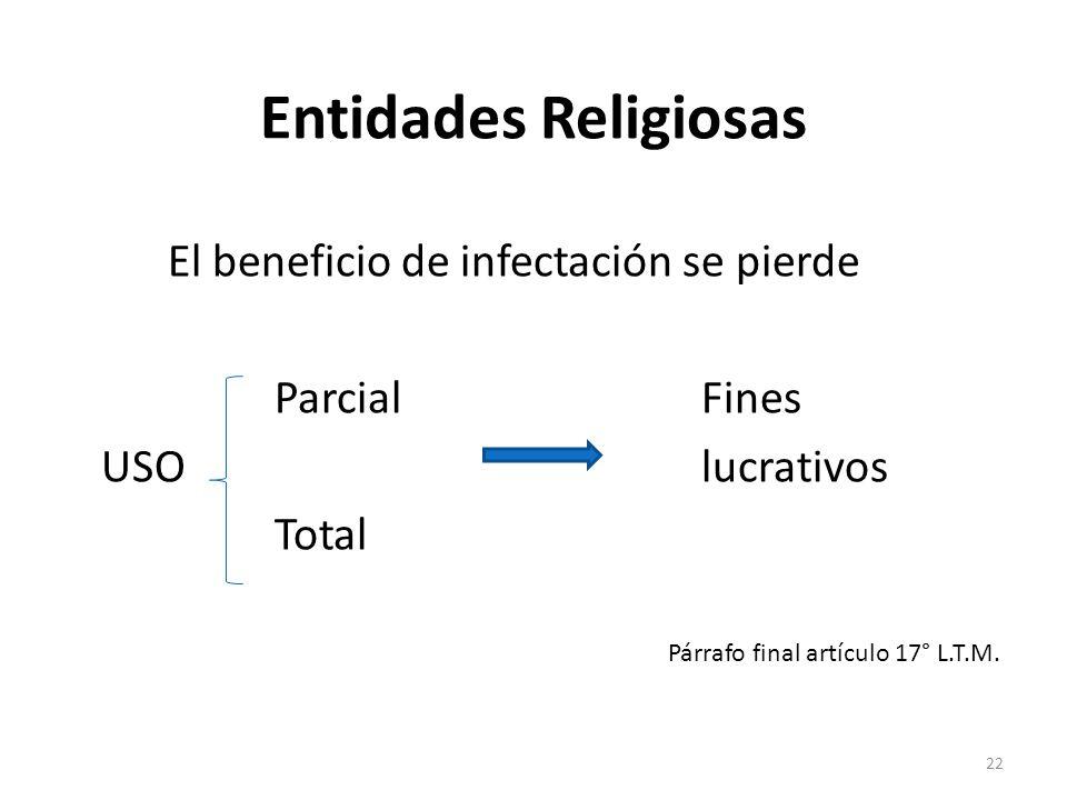 Entidades Religiosas El beneficio de infectación se pierde