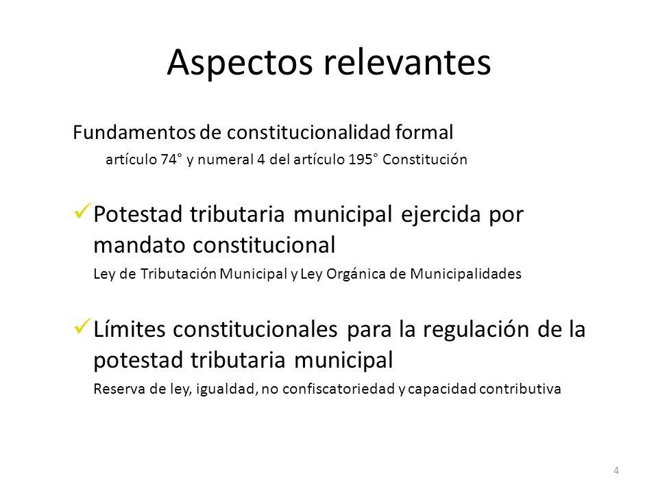 Aspectos relevantes Fundamentos de constitucionalidad formal. artículo 74° y numeral 4 del artículo 195° Constitución.