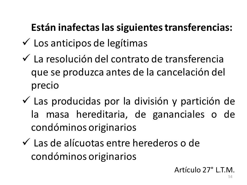 Están inafectas las siguientes transferencias: