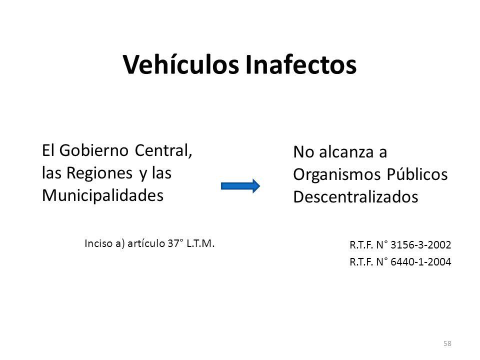 Vehículos Inafectos El Gobierno Central, las Regiones y las Municipalidades. Inciso a) artículo 37° L.T.M.