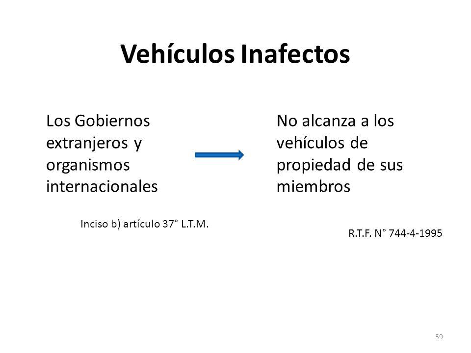 Vehículos Inafectos Los Gobiernos extranjeros y organismos internacionales. Inciso b) artículo 37° L.T.M.