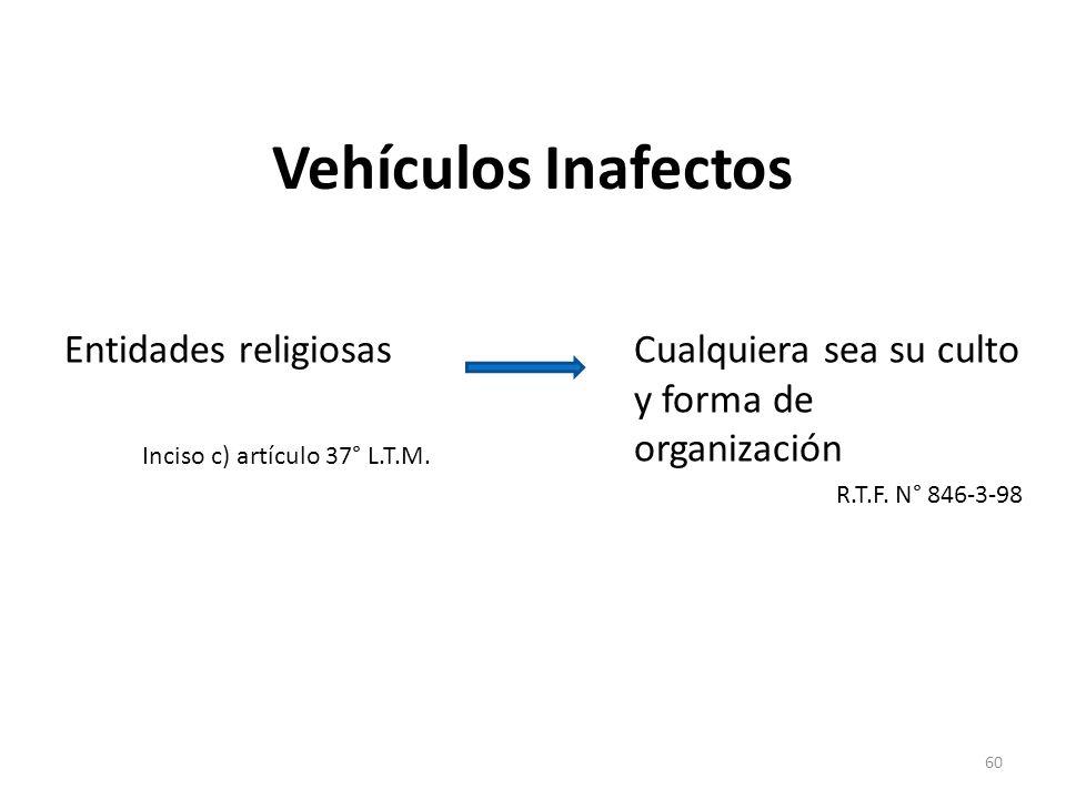 Vehículos Inafectos Entidades religiosas