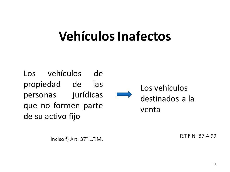 Vehículos Inafectos Los vehículos de propiedad de las personas jurídicas que no formen parte de su activo fijo.