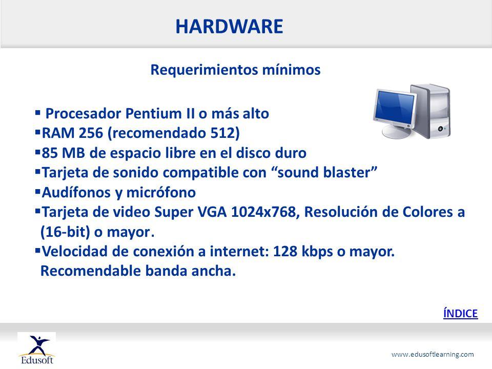 HARDWARE Requerimientos mínimos Procesador Pentium II o más alto