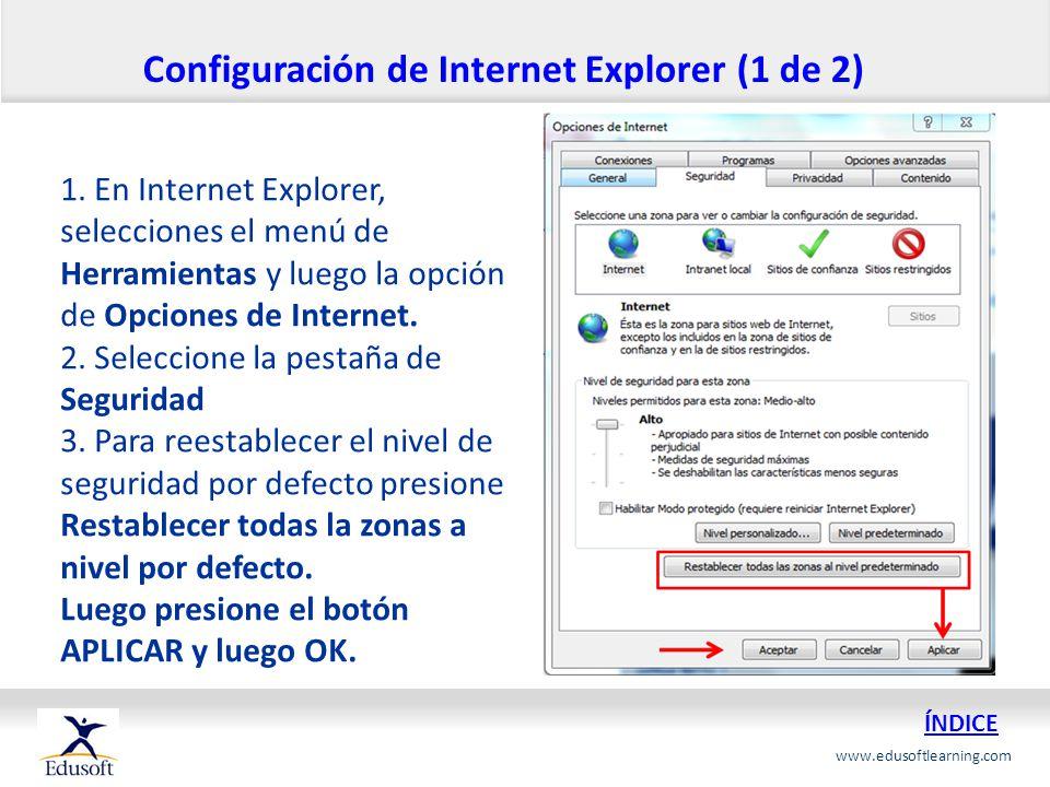 Configuración de Internet Explorer (1 de 2)