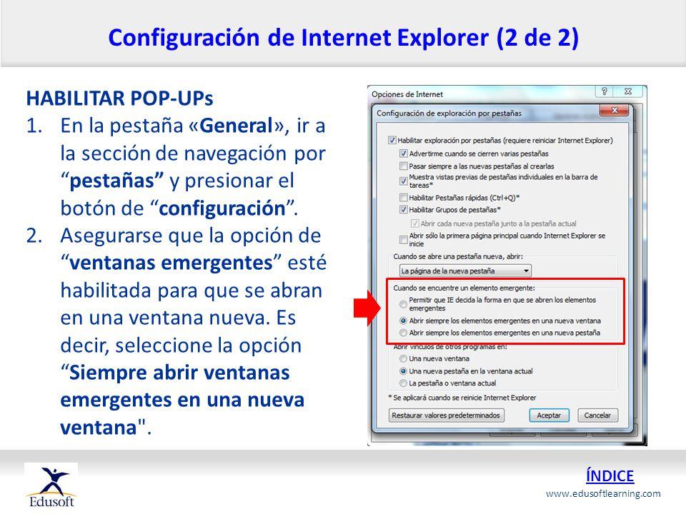 Configuración de Internet Explorer (2 de 2)
