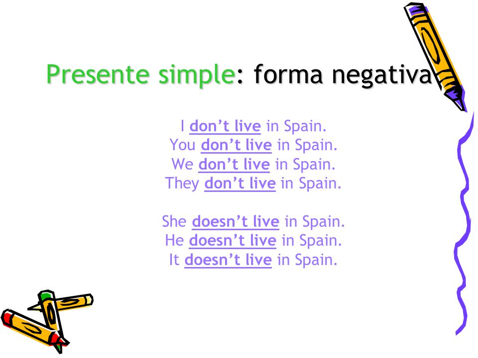 Presente simple: forma negativa