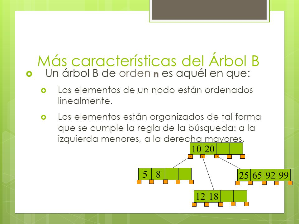Más características del Árbol B