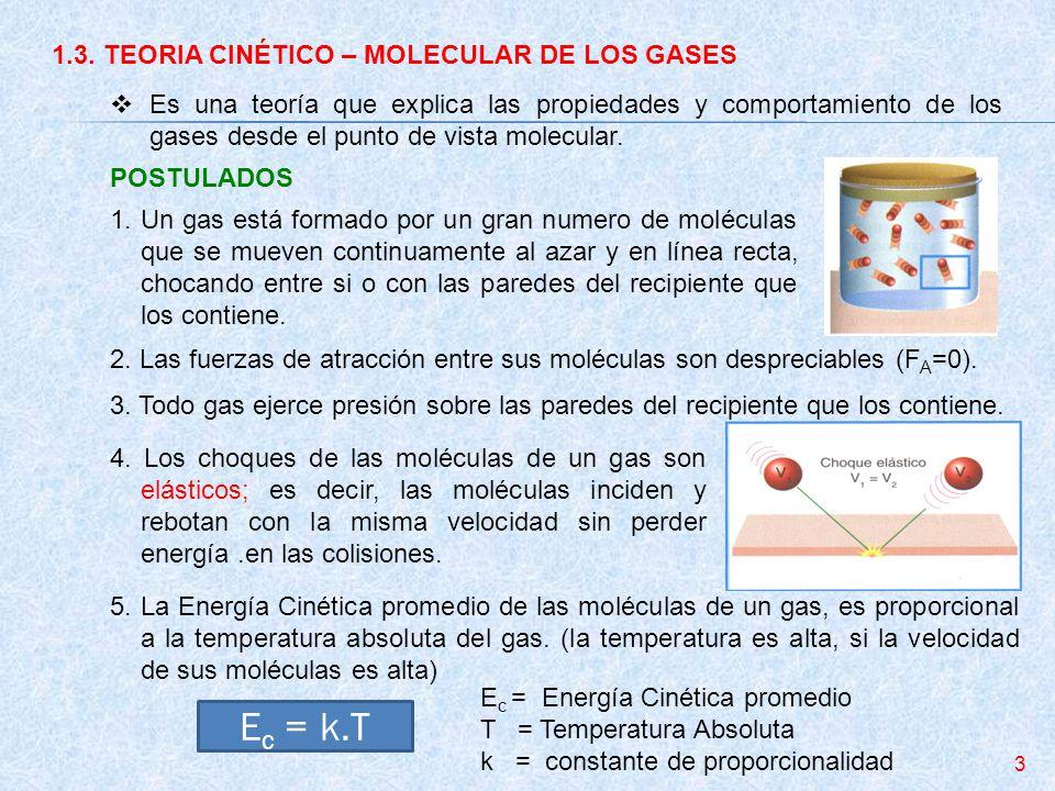 Ec = k.T 1.3. TEORIA CINÉTICO – MOLECULAR DE LOS GASES