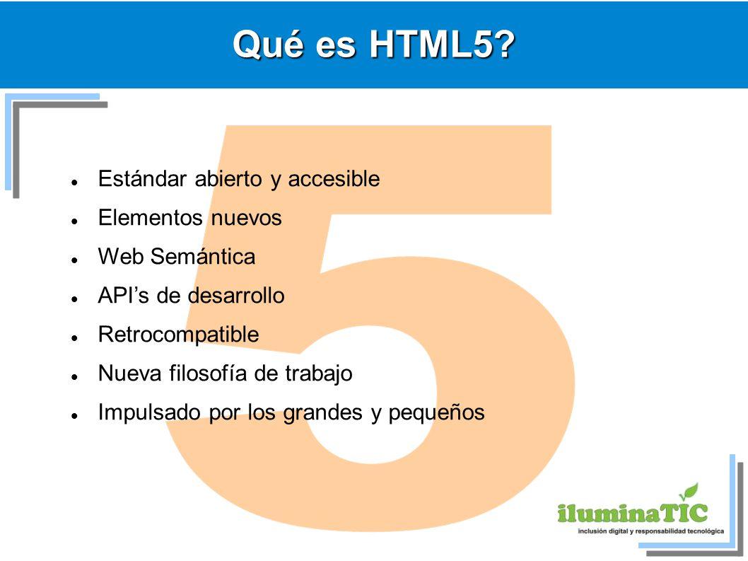 5 Qué es HTML5 Estándar abierto y accesible Elementos nuevos