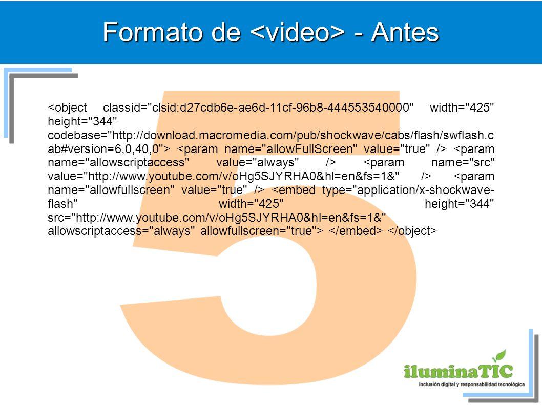 Formato de <video> - Antes