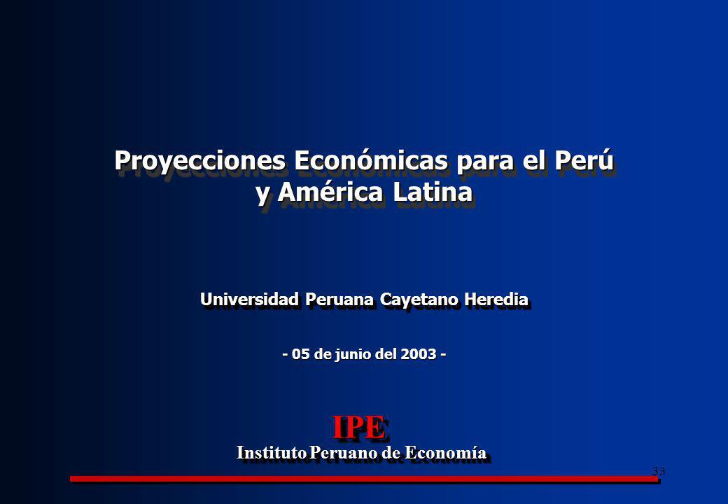 IPE Proyecciones Económicas para el Perú y América Latina